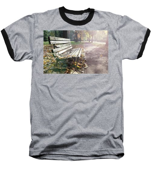 Rustic Wooden Bench During Late Autumn Season On Bright Day Baseball T-Shirt