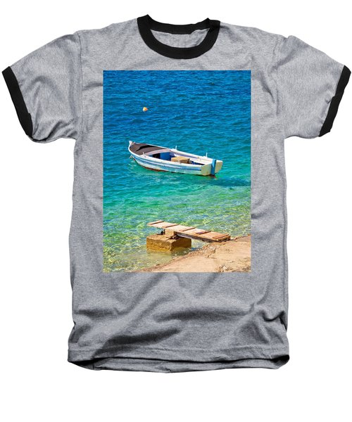 Old Wooden Fishermen Boat On Turquoise Beach Baseball T-Shirt by Brch Photography