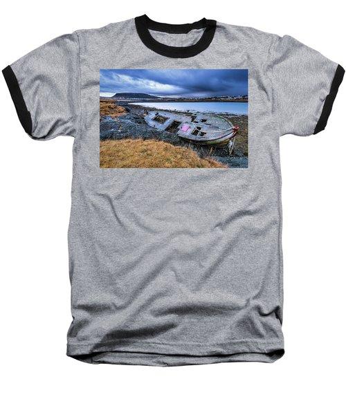 Old Wooden Ship On Beach Baseball T-Shirt