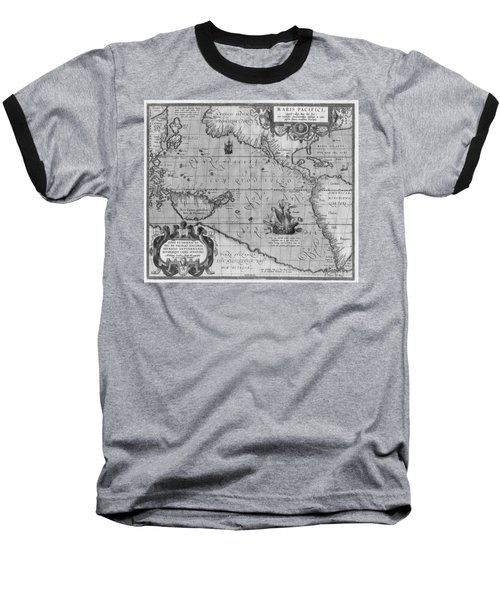 Old World Map Print From 1589 - Black And White Baseball T-Shirt