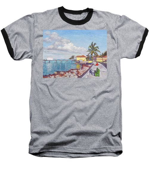 Old Yellow Gas Station By The Waterfront - Cooper's Town Baseball T-Shirt