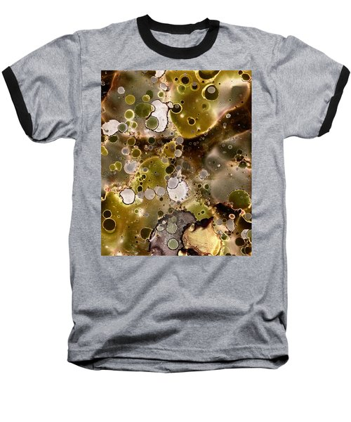 Baseball T-Shirt featuring the painting Olive Metal Abstract by Patricia Lintner