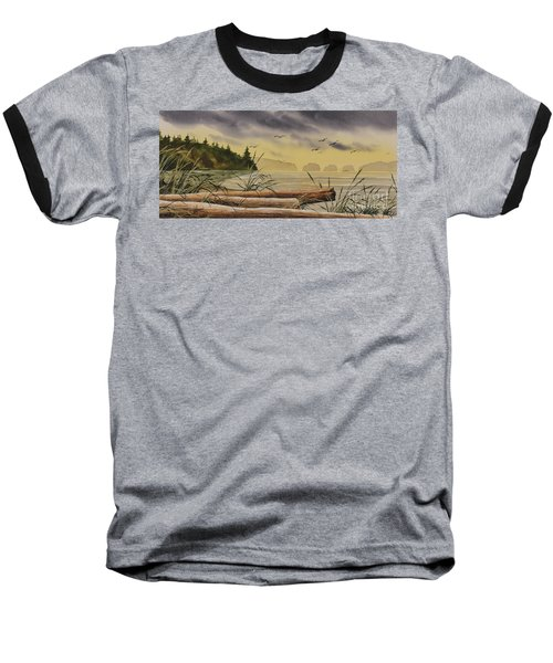 Baseball T-Shirt featuring the painting Olympic Seashore Sunset by James Williamson
