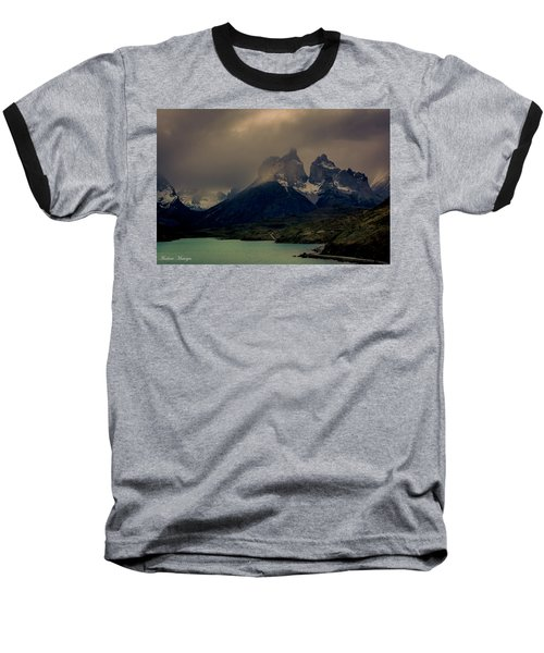 Baseball T-Shirt featuring the photograph Ominous Peaks by Andrew Matwijec