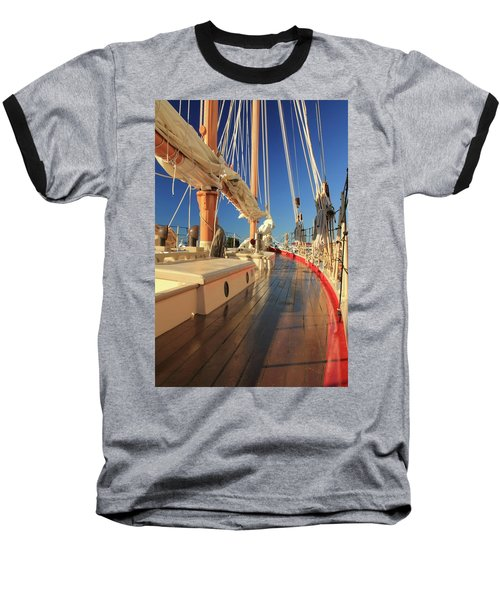 Baseball T-Shirt featuring the photograph On Deck Of The Schooner Eastwind by Roupen  Baker