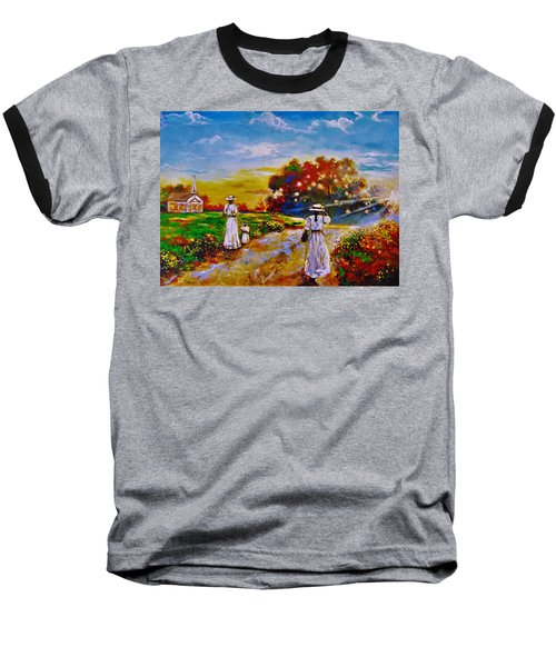 Baseball T-Shirt featuring the painting On My Way Home by Emery Franklin