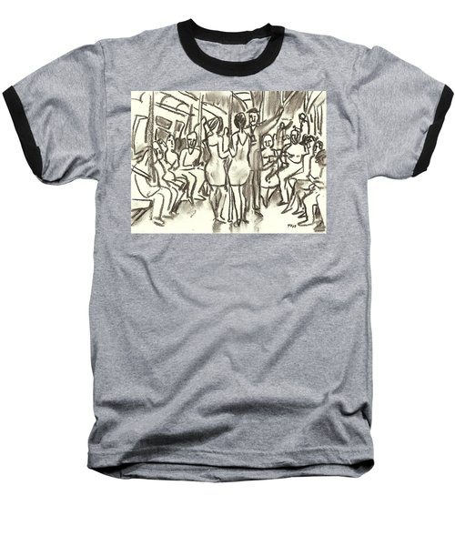 On The A, New York City Subway Drawing Baseball T-Shirt