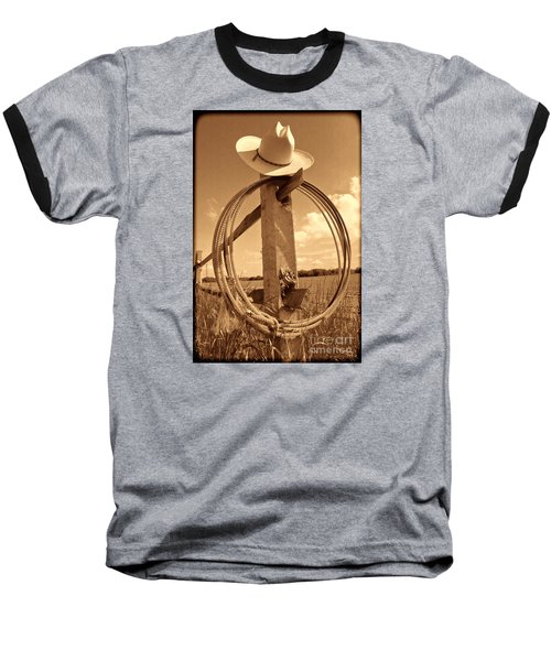 On The American Ranch Baseball T-Shirt by American West Legend By Olivier Le Queinec
