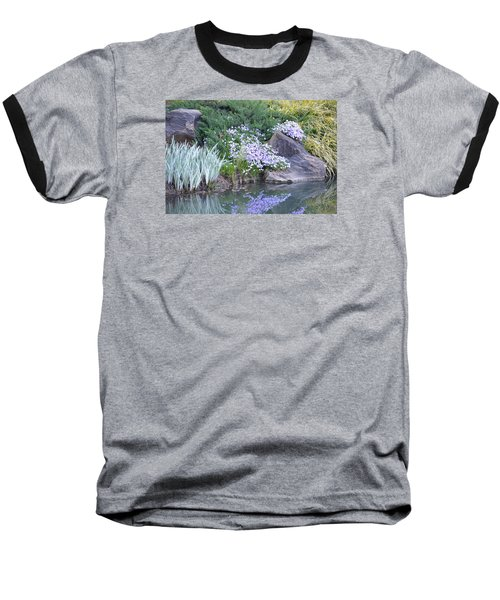 On The Banks Of The Pool Baseball T-Shirt by Linda Geiger
