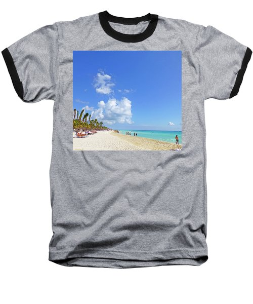 Baseball T-Shirt featuring the digital art On The Beach M1 by Francesca Mackenney