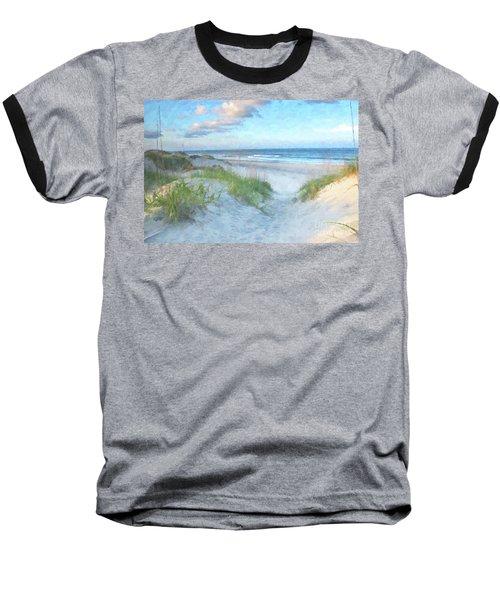 On The Beach Watercolor Baseball T-Shirt by Randy Steele