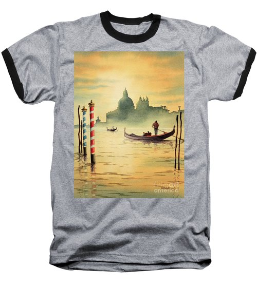 Baseball T-Shirt featuring the painting On The Grand Canal Venice Italy by Bill Holkham