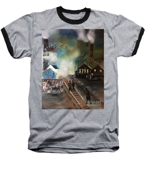 Baseball T-Shirt featuring the painting On The Pennsylvania Tracks by Denise Tomasura