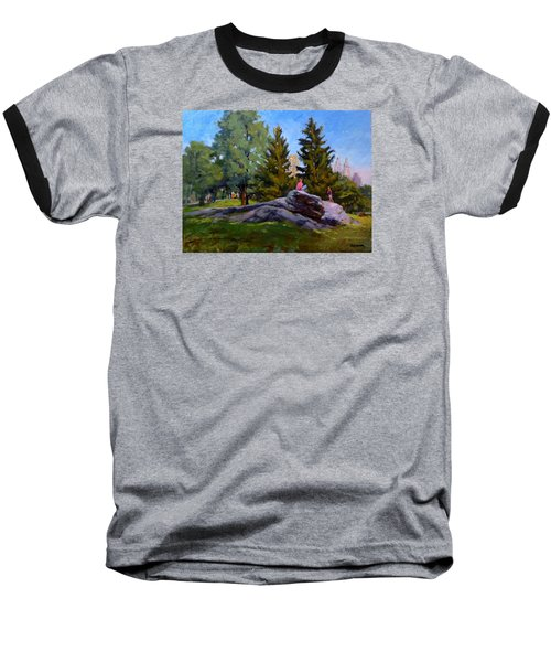 On The Rocks In Central Park Baseball T-Shirt