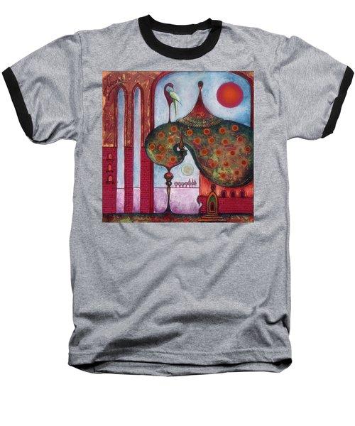 Baseball T-Shirt featuring the painting On The Rooftop Of The World by Anna Ewa Miarczynska