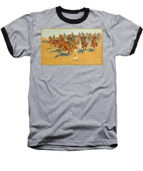 Baseball T-Shirt featuring the photograph On The Southern Plains Frederic Remington by John Stephens