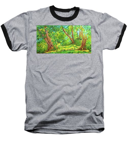 Baseball T-Shirt featuring the painting On The Path by Susan D Moody