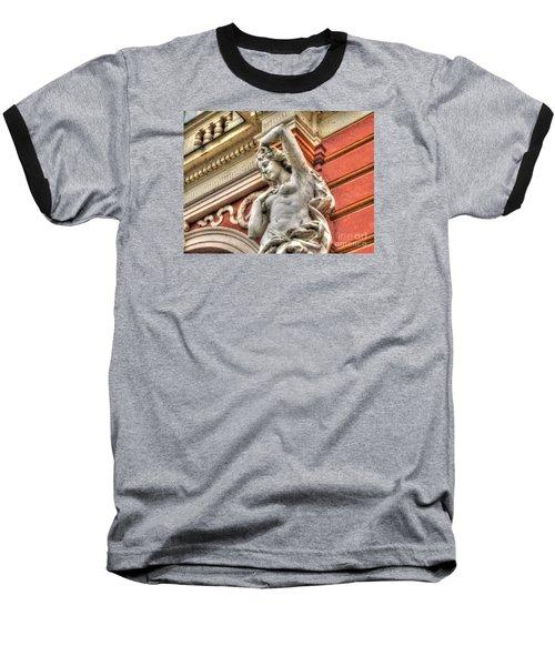On The Wall Sit Baseball T-Shirt by Yury Bashkin
