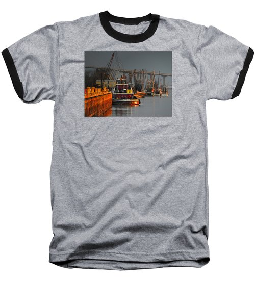 On The Waterfront Baseball T-Shirt by Laura Ragland