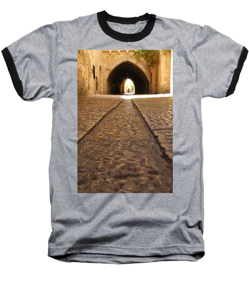 Baseball T-Shirt featuring the photograph On The Way To The Western Wall - The Kotel - Old City, Jerusalem, Israel by Yoel Koskas