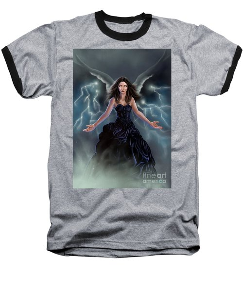 Baseball T-Shirt featuring the painting On The Wings Of The Storm by Amyla Silverflame