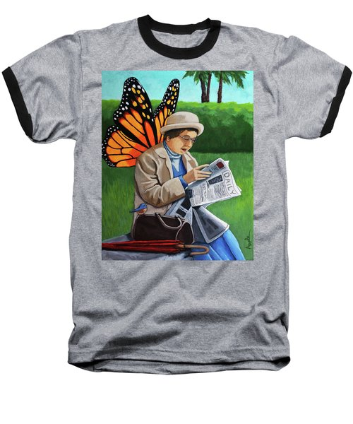 Baseball T-Shirt featuring the painting On Vacation -butterfly Angel Painting by Linda Apple