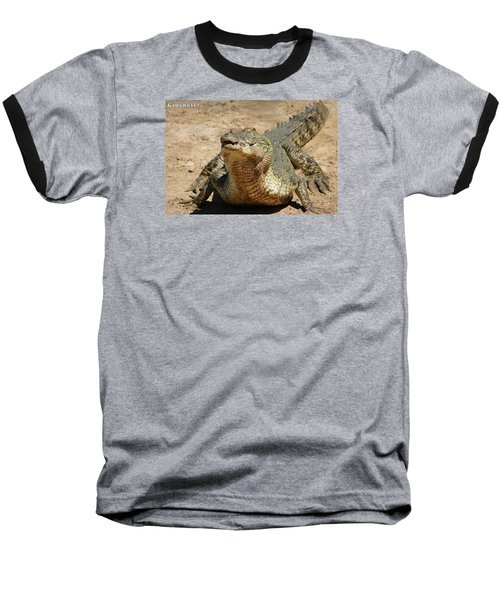 Baseball T-Shirt featuring the photograph One Crazy Saltwater Crocodile by Gary Crockett