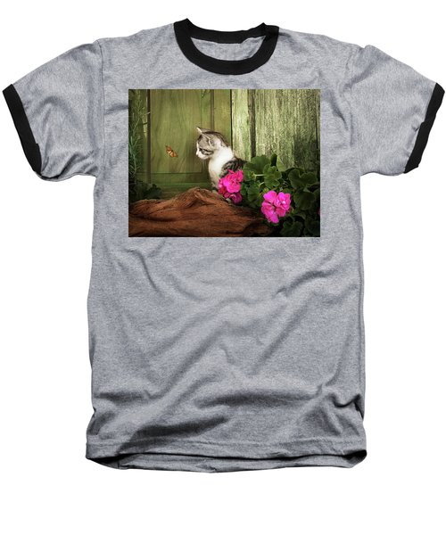 One Cute Kitten Waiting At The Door Baseball T-Shirt