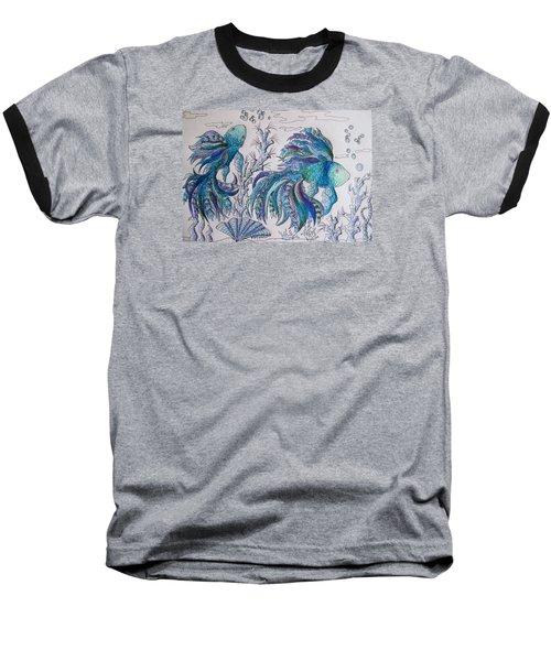 One Fish, Two Fish, Lilac Green And Blue Fish Baseball T-Shirt