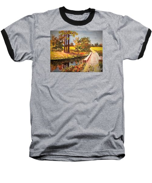 Baseball T-Shirt featuring the painting One Lane Bridge by Jim Phillips