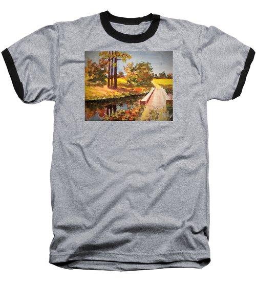 One Lane Bridge Baseball T-Shirt by Jim Phillips