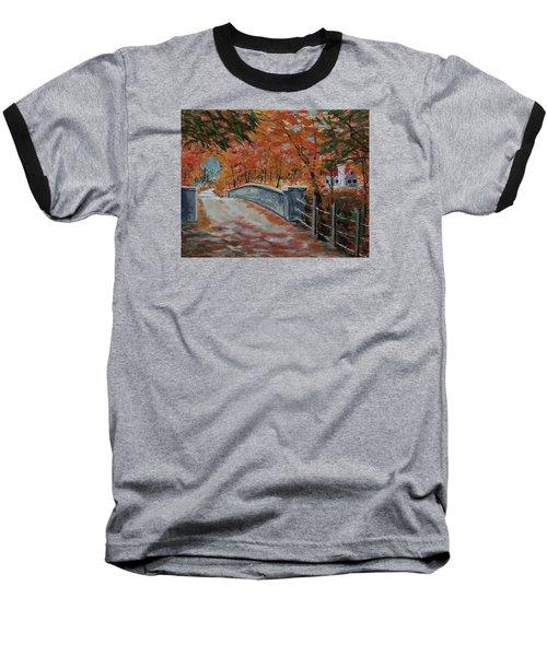 One Lane Bridge Baseball T-Shirt by Mike Caitham