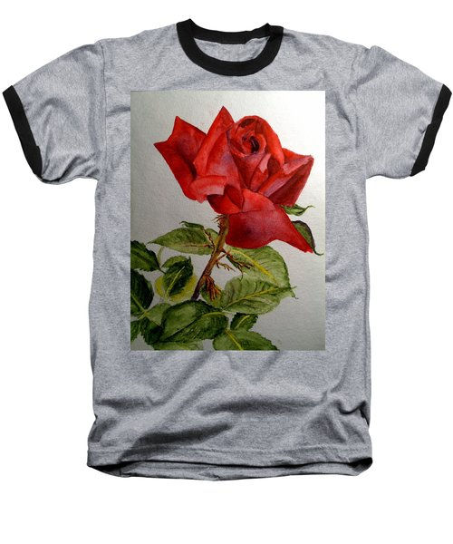 One Single Red Rose Baseball T-Shirt by Carol Grimes