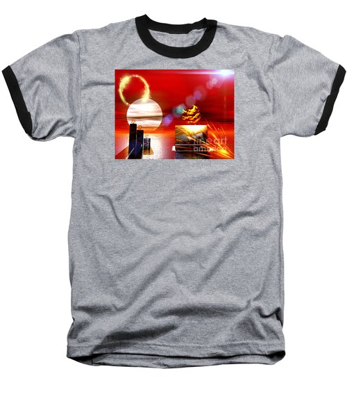 Baseball T-Shirt featuring the digital art One Step Beyound by Jacqueline Lloyd