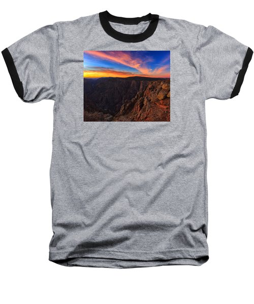 On The Edge Baseball T-Shirt by Rick Furmanek