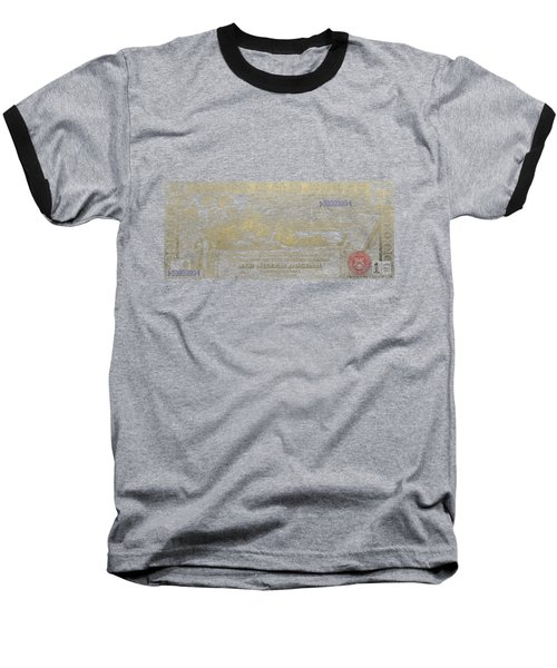 Baseball T-Shirt featuring the digital art One U.s. Dollar Bill - 1896 Educational Series In Gold On Black  by Serge Averbukh