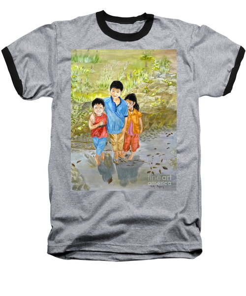 Baseball T-Shirt featuring the painting Onion Farm Children Bali Indonesia by Melly Terpening