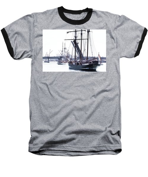 Baseball T-Shirt featuring the photograph Oosterschelde Leaving Port by Stephen Mitchell