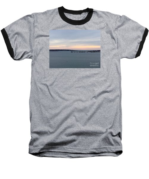 Opalescent January Sunrise On Casco Bay Baseball T-Shirt by Patricia E Sundik