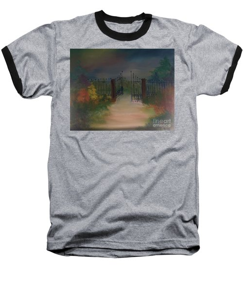 Baseball T-Shirt featuring the painting Open Gate by Denise Tomasura