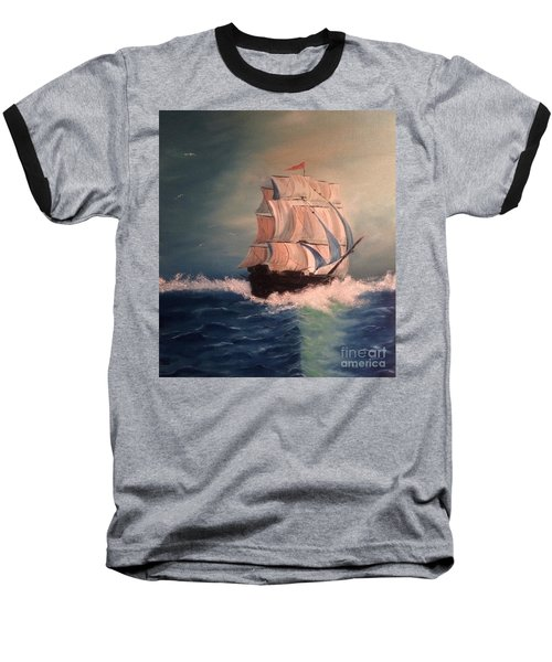 Baseball T-Shirt featuring the painting Open Seas by Denise Tomasura