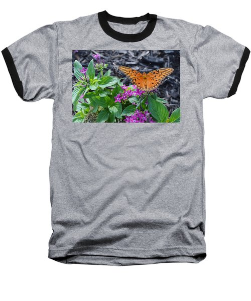 Open Wings Of The Gulf Fritillary Butterfly Baseball T-Shirt
