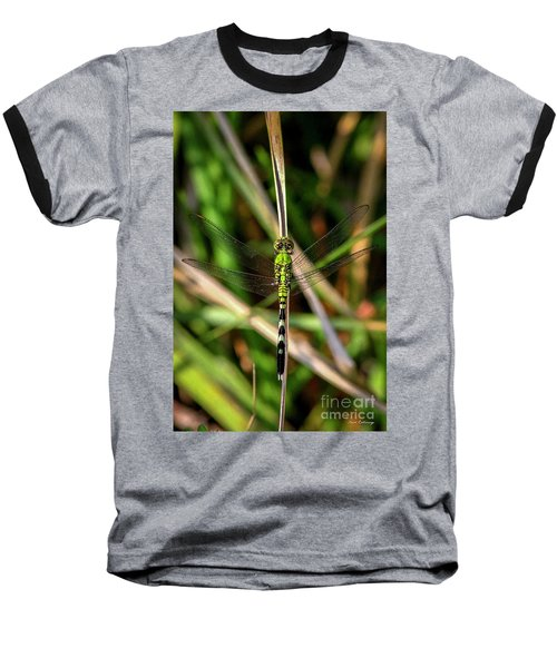 Baseball T-Shirt featuring the photograph Openminded Green Dragonfly Art by Reid Callaway