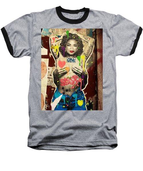 Oprah Winfrey Graffiti In New York  Baseball T-Shirt