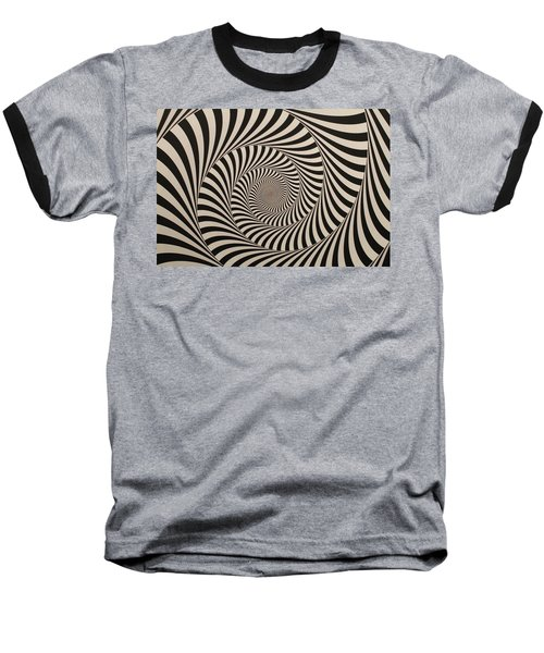 Optical Illusion Beige Swirl Baseball T-Shirt by Sumit Mehndiratta
