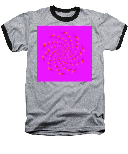 Optical Illusion Spinning Circle Baseball T-Shirt by Sumit Mehndiratta