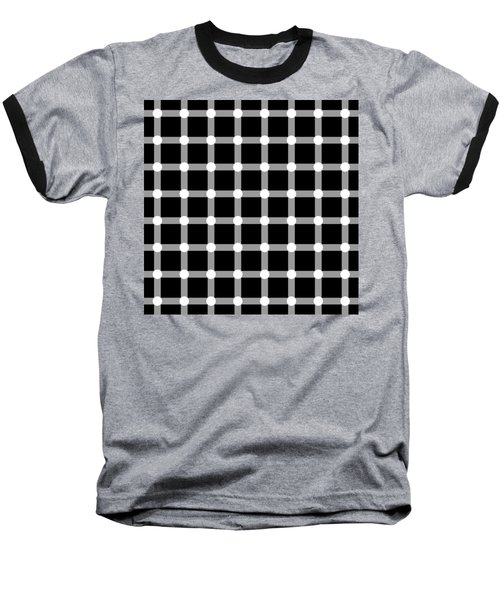 Optical Illusion The Grid Baseball T-Shirt by Sumit Mehndiratta