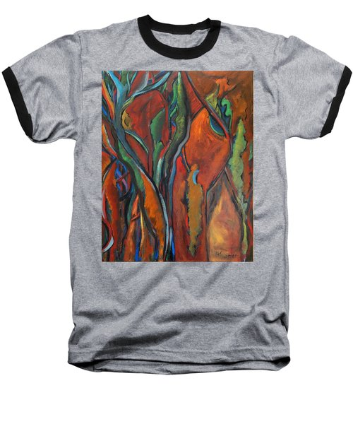 Orange Abstract Baseball T-Shirt