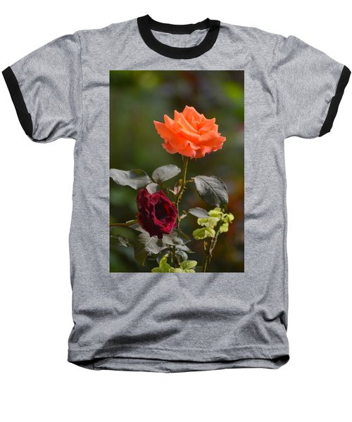 Orange And Black Rose Baseball T-Shirt