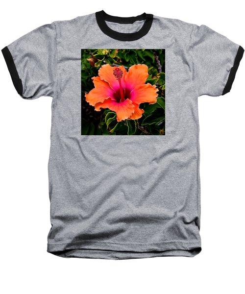 Orange And Pink Hibiscus 2 Baseball T-Shirt